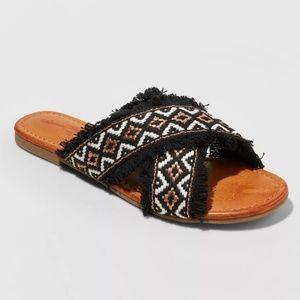 Universal Thread Fringe Cross Band Slide Sandals
